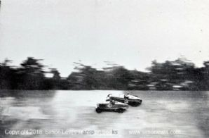 Talbot 105 (Cobb/Lewis) & Bentley (Dunfee) collide(?)Photo.  Brooklands 500 Miles 1932